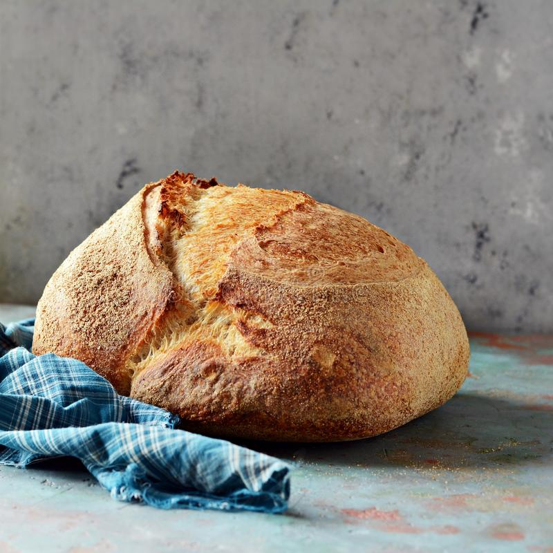 Homemade Freshly Baked Country Bread made from wheat and whole grain flour on a gray-blue background. stock images