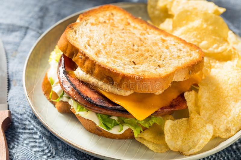 Homemade Fried Bologna Sandwich royalty free stock images