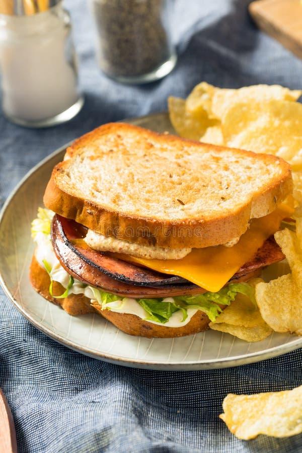 Homemade Fried Bologna Sandwich stockfotos