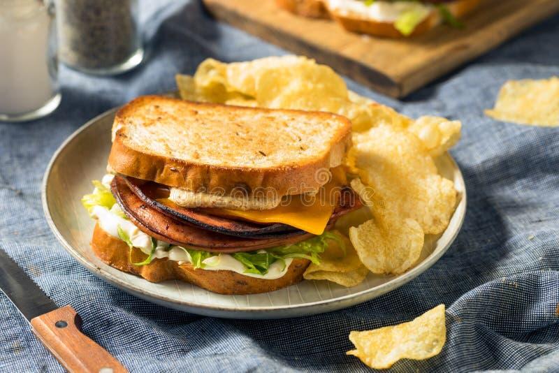 Homemade Fried Bologna Sandwich stockbild