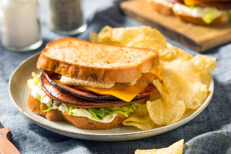 Homemade Fried Bologna Sandwich stockfotografie