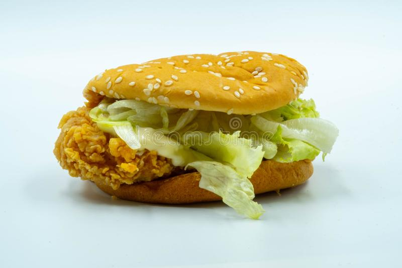 Homemade Fried Chicken Burger Isolate on White Background stock photo
