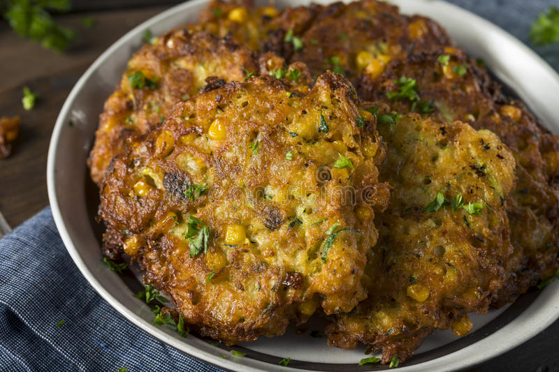 Homemade Fried Corn Fritter royalty free stock photo