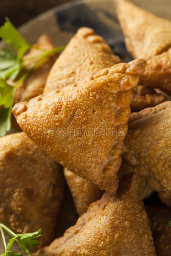 Homemade Fried Indian Samosas royalty free stock photos