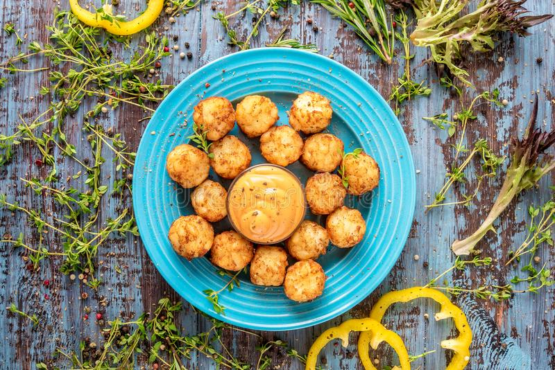 Homemade fried mini croquettes from baked potatoes, delicious and nice recipe royalty free stock images