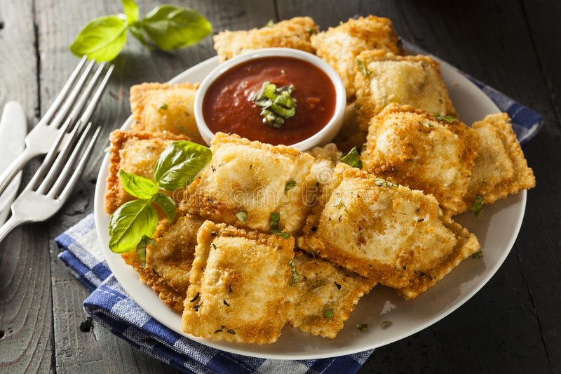 Homemade Fried Ravioli with Marinara Sauce stock photography