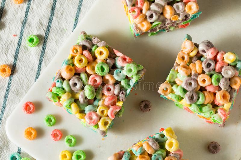 Homemade Fruit Cereal Marshmallow Treat. Squares Ready to EAt royalty free stock photo