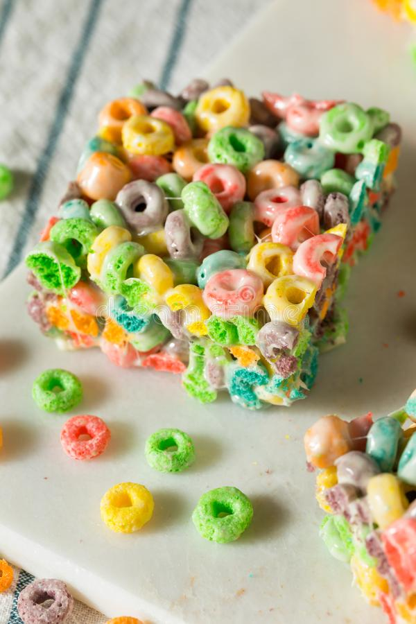 Homemade Fruit Cereal Marshmallow Treat. Squares Ready to EAt royalty free stock photos