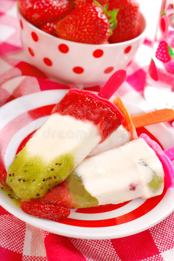 Homemade fruit ice creams