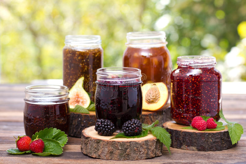 Homemade fruit jam in the jar royalty free stock photos