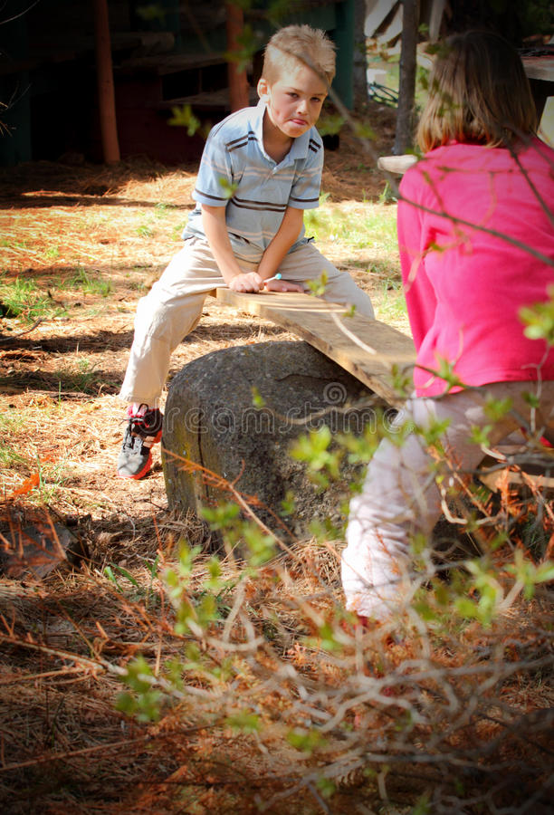 Download Homemade Fun stock photo. Image of boulder, wood, seesaw - 30822322