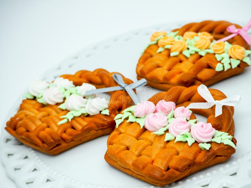 Homemade ginger bread Easter basket treats! royalty free stock photo