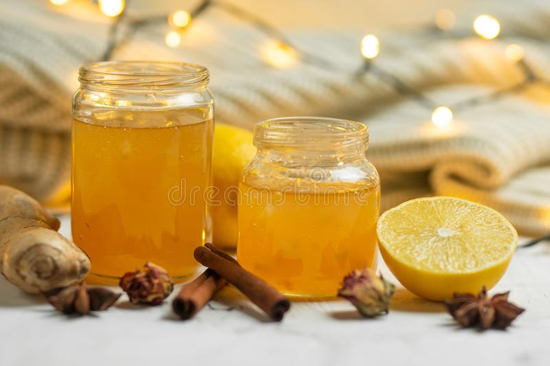 Homemade ginger and lemon jam on a light background, close-up. Natural products to support the immune system in the winter. stock image