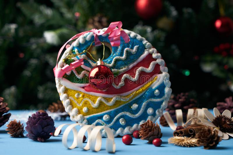 Homemade gingerbread cookie colorful christmas tree bauble royalty free stock image