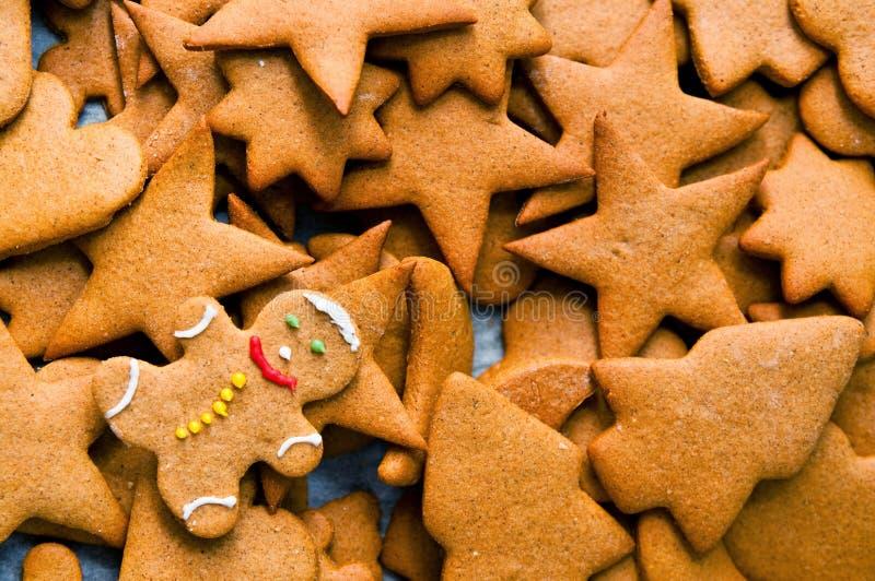 Homemade gingerbread Christmas cookies. Texture of freshly baked homemade gingerbread cookies