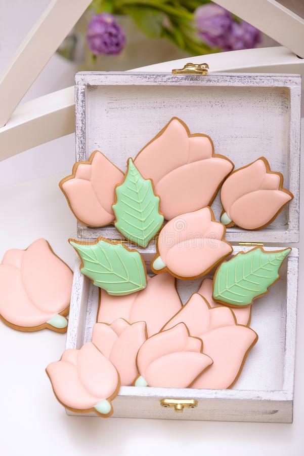 Homemade gingerbread cookies in the shape of tulips stock images