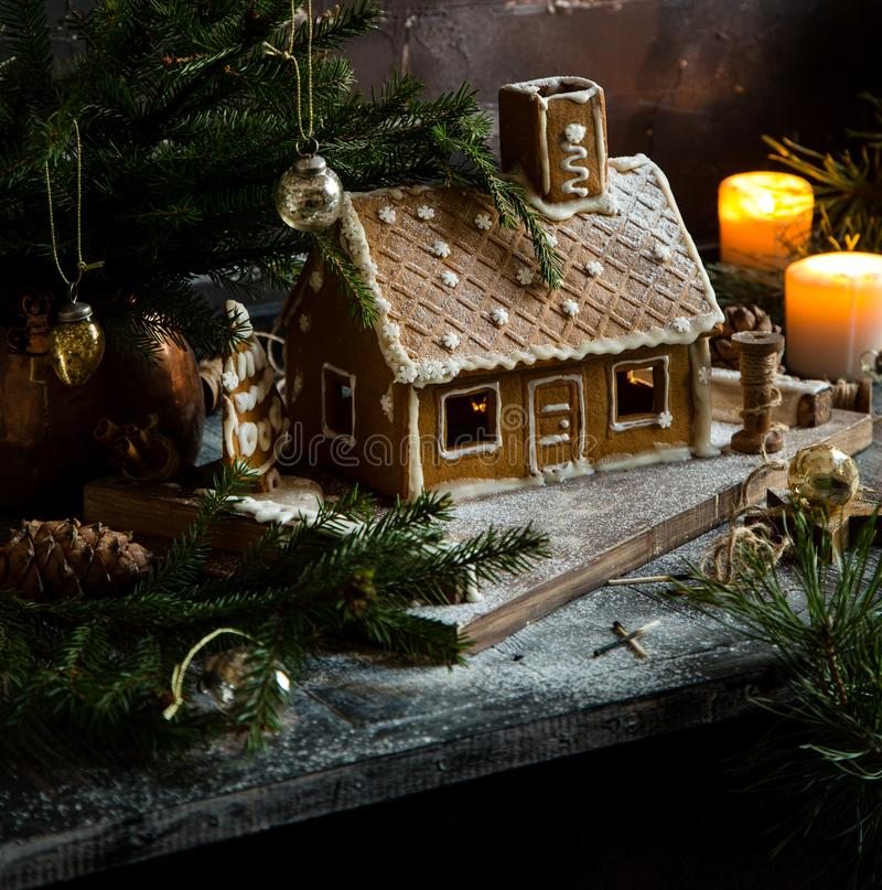 Homemade gingerbread house royalty free stock images