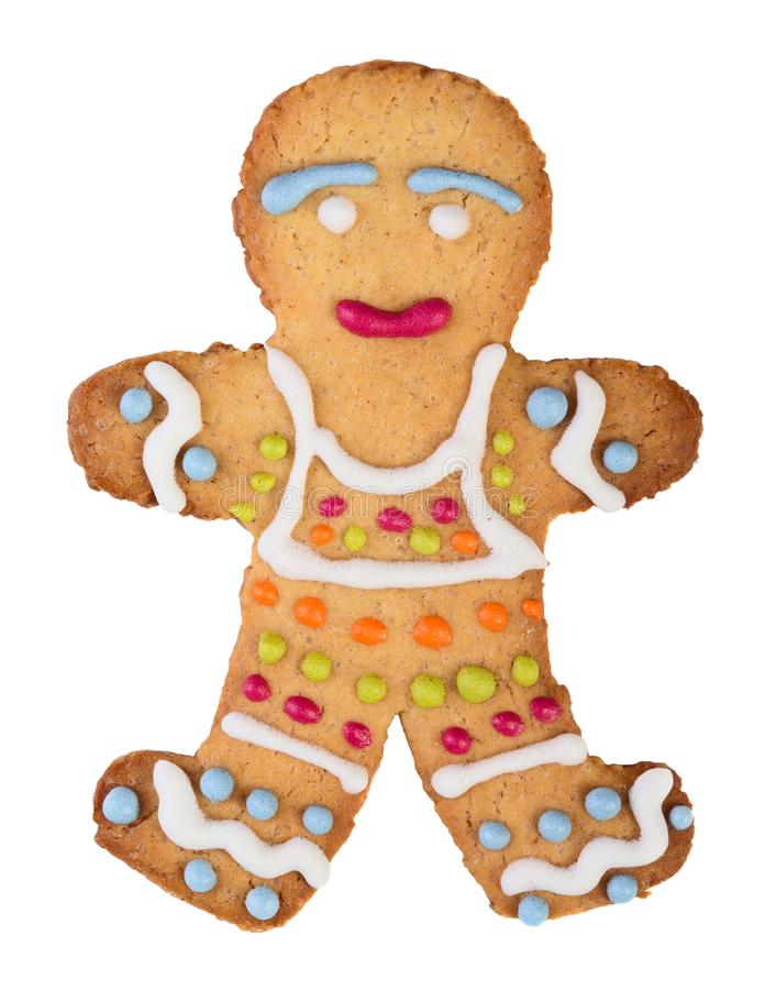 Homemade gingerbread man. Isolated on white background stock photos
