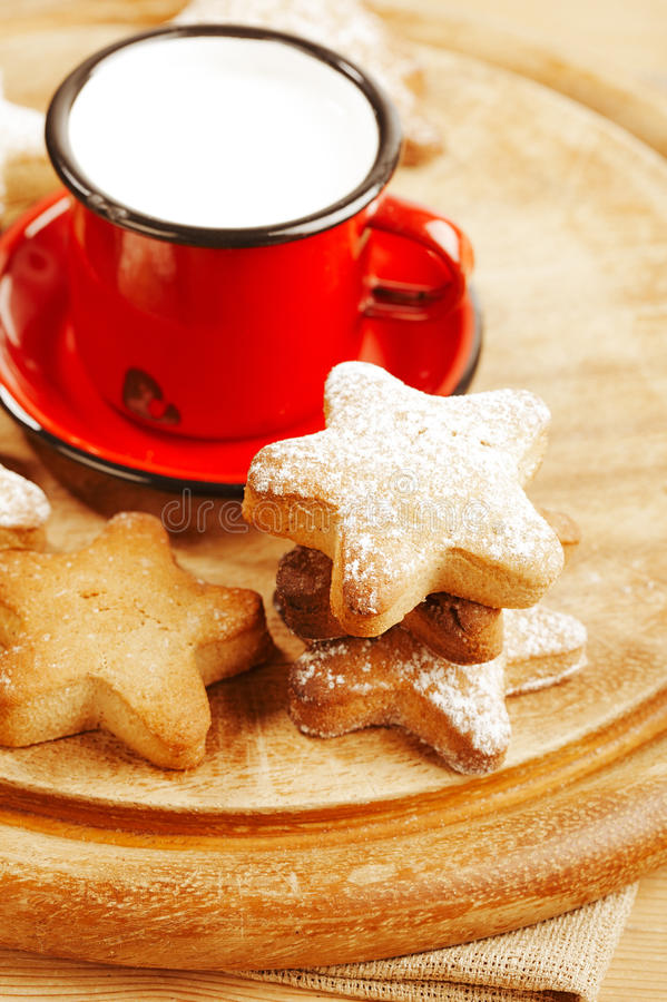 Homemade Gingerbread  Star Cookies With  Milk Stock Photo