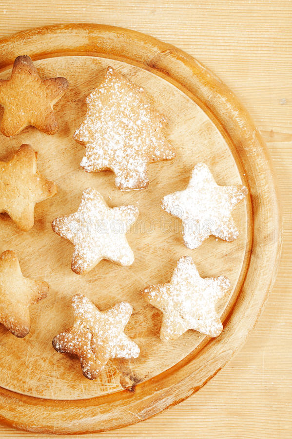 Homemade Gingerbread  Star Cookies On Wood Stock Image