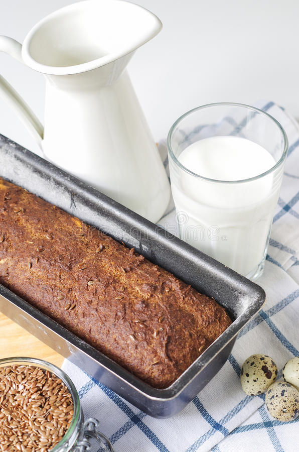 Homemade gluten free bread with linseed flour and psyllium husk. royalty free stock photo