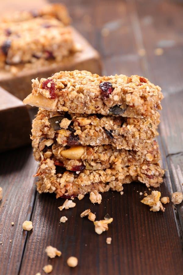 Homemade granola bar stock photos