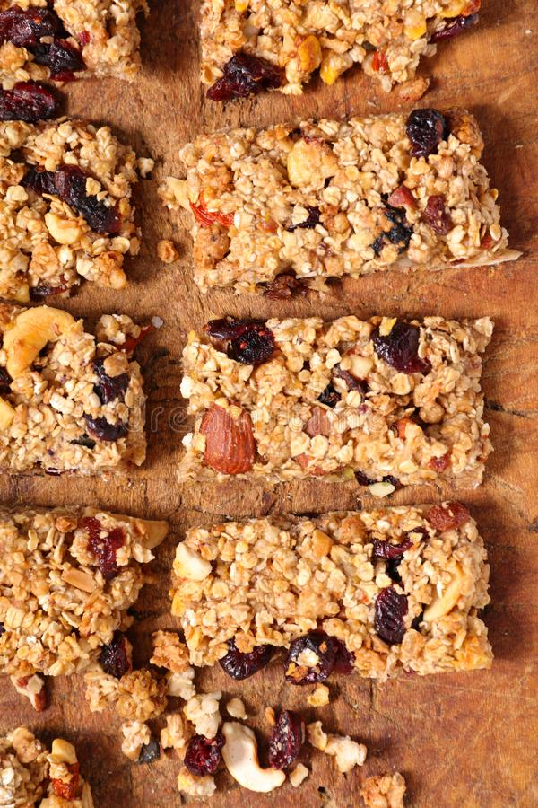 Homemade granola bar. On wood stock images