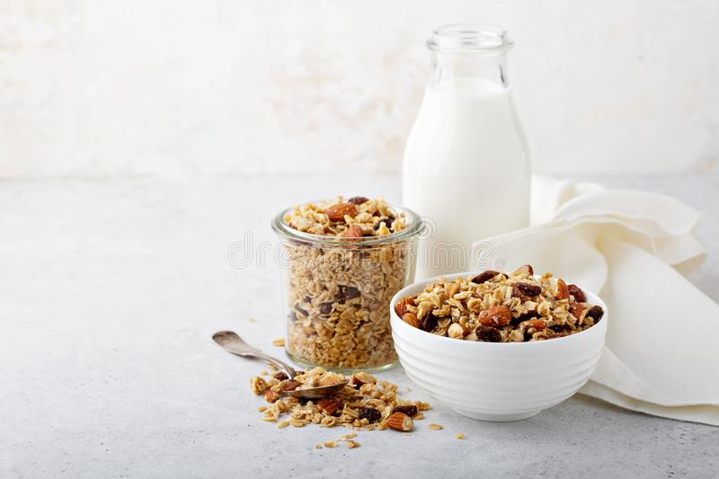 Homemade granola with coconut and almonds royalty free stock photos