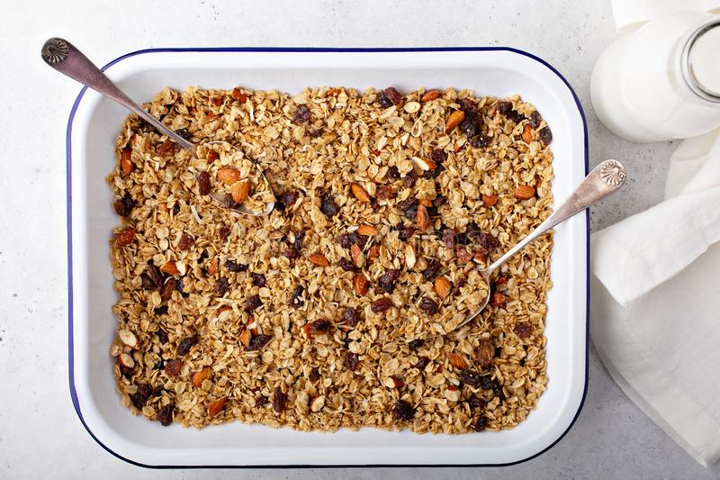 Homemade granola with coconut and almonds royalty free stock photo