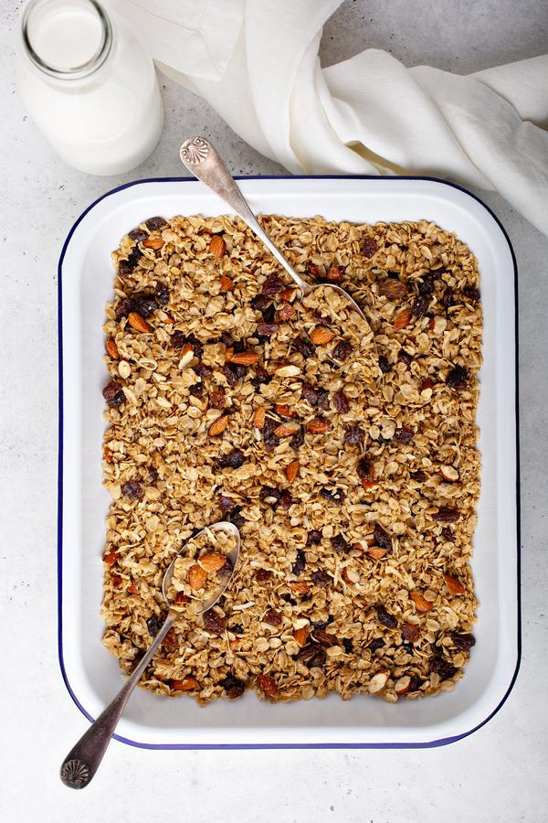 Homemade granola with coconut and almonds royalty free stock photography