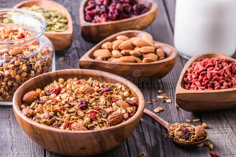 Homemade granola with milk, berries, seeds and nuts royalty free stock photography