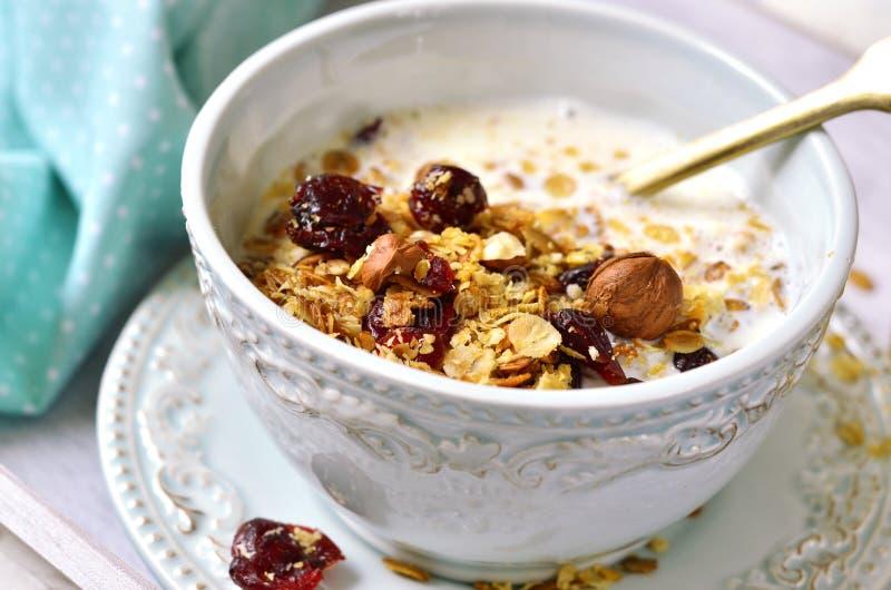 Homemade granola with milk- healthy breakfast. royalty free stock photography
