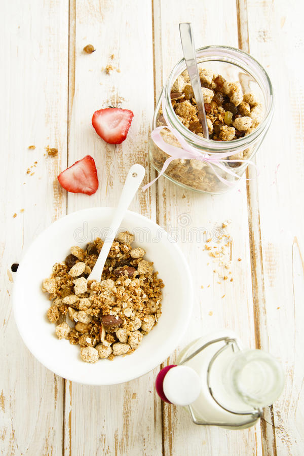 Homemade granola. With saffron yogurt royalty free stock photo