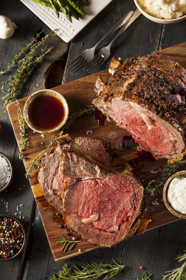 Homemade Grass Fed Prime Rib Roast. With Herbs and Spices stock photo