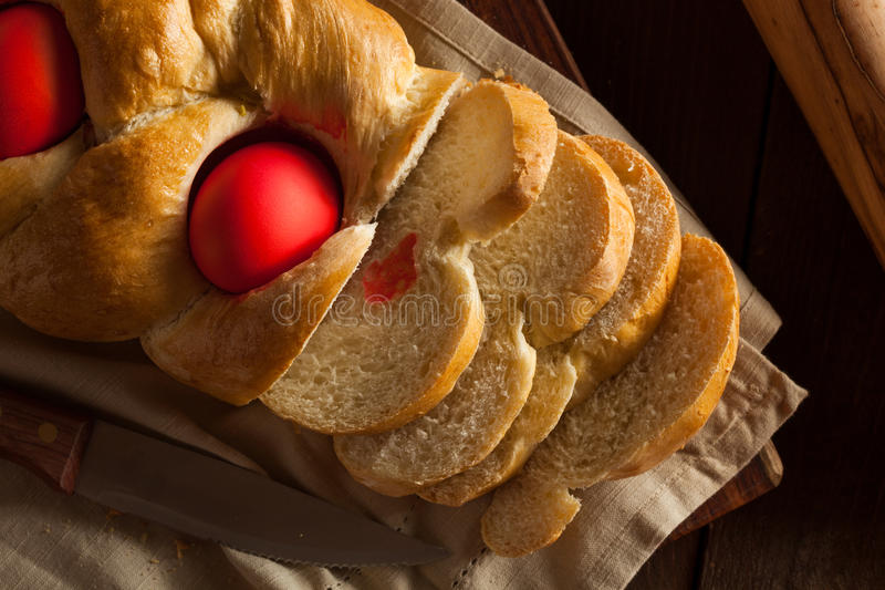 Homemade Greek Easter Bread. With Red Eggs royalty free stock image