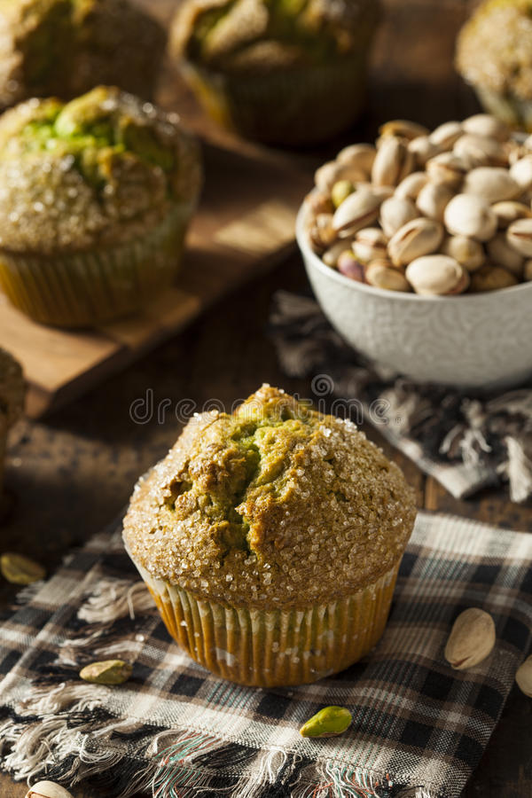 Homemade Green Pistachio Muffins royalty free stock image