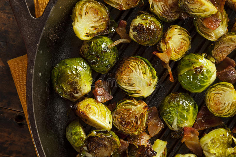 Homemade Grilled Brussel Sprouts. With Fresh Bacon stock images
