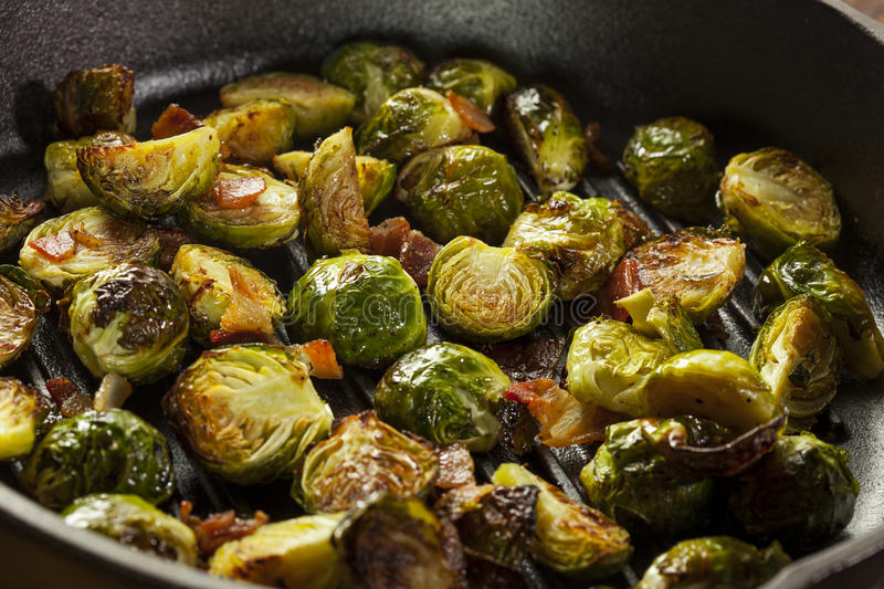Homemade Grilled Brussel Sprouts. With Fresh Bacon royalty free stock photos