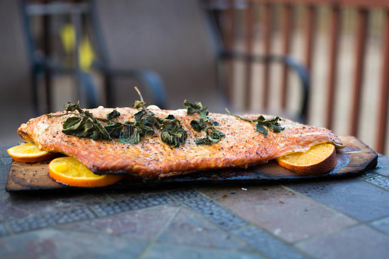 Homemade Grilled Salmon whole filet on a Cedar Plank. A filet of salmon with mint on top laid on wedges of oranges for a subtle hint of sweet citrus, grilled on stock image