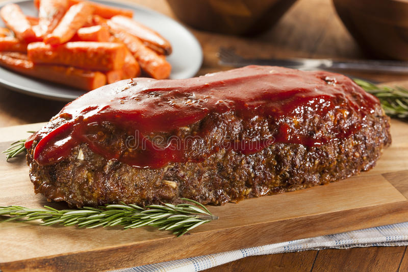 Homemade Ground Beef Meatloaf stock photos
