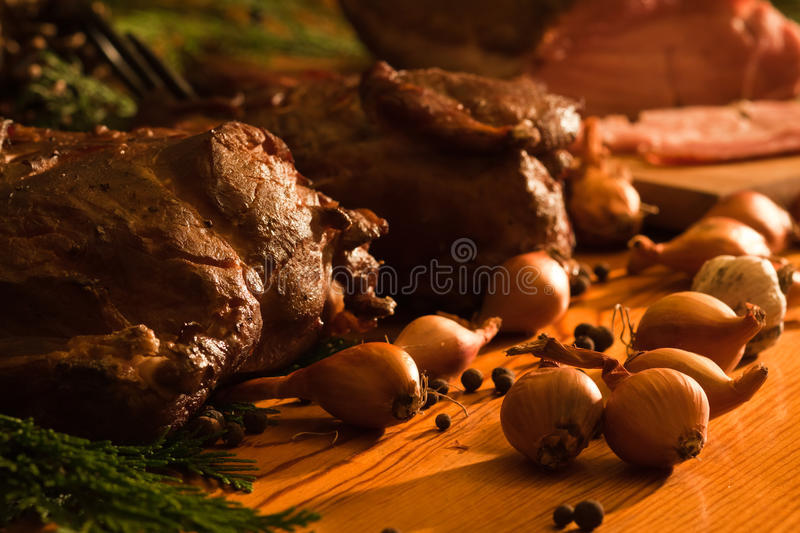 Homemade ham in lodge stock images