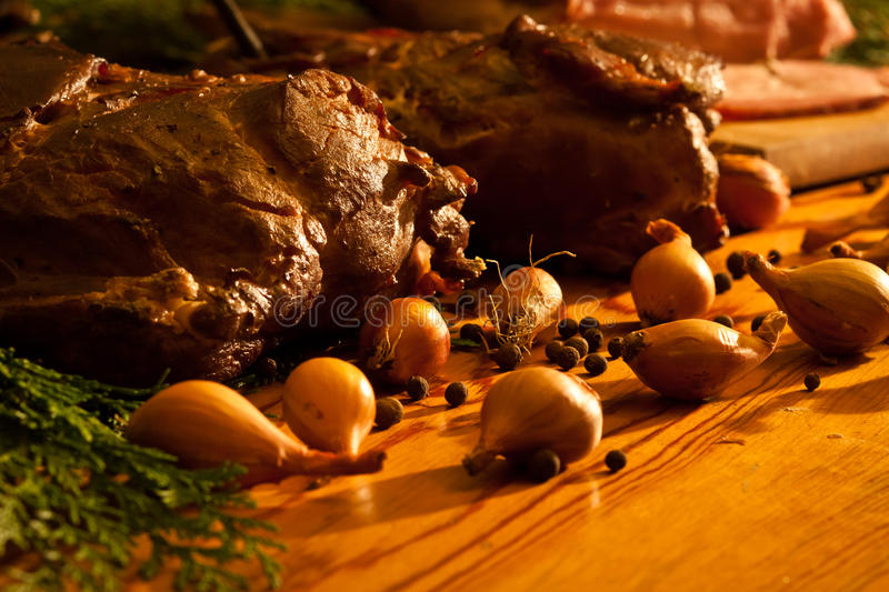 Homemade ham with onions royalty free stock photos