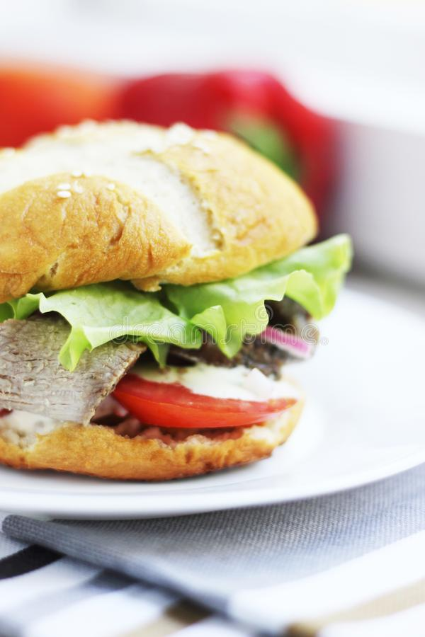 Homemade hamburger with meat and tomatoes stock photos
