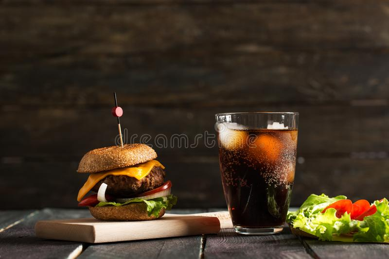 Download Homemade Hamburger On Wooden Background Stock Image - Image of bacon, cheeseburger: 106769013