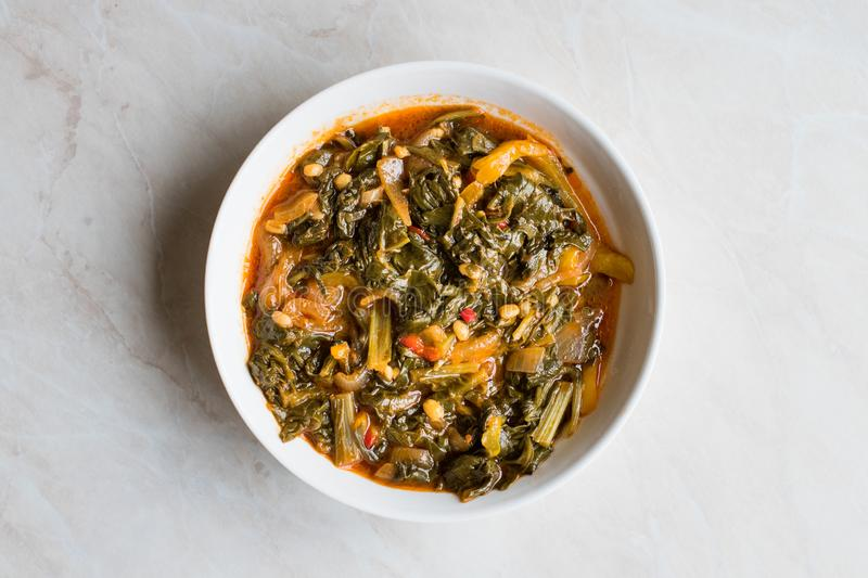 Homemade Healthy Chard with Rice, Onions and Tomato Paste in Metal Pot / Turkish Food Pazi. stock images
