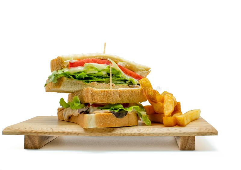 Homemade healthy club sandwich. And french fried on white background royalty free stock images