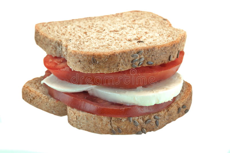 Homemade Healthy Sandwich With Sliced Tomato And Mozzarela Cheese, Closeup stock image
