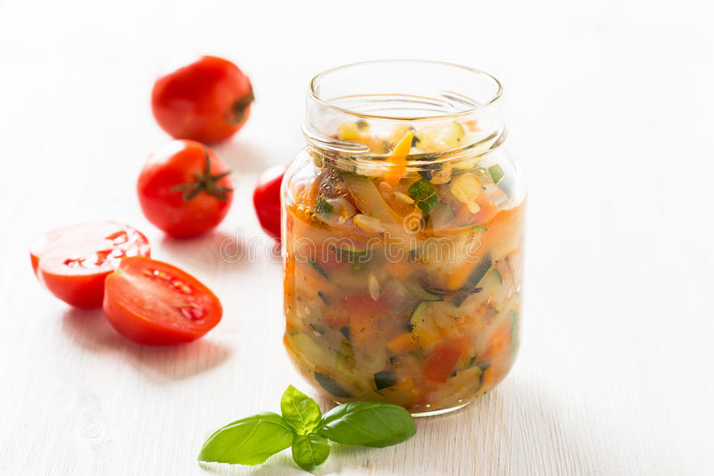 Homemade healthy vegetable preserves in glass jar stock photos