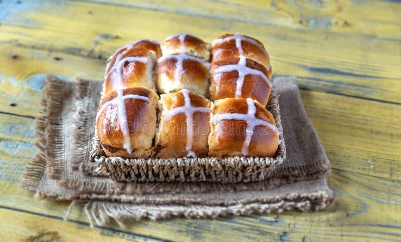 Homemade hot cross buns stock photos