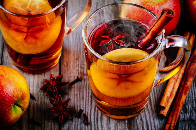 Homemade hot mulled apple cider with a cinnamon stick royalty free stock photography
